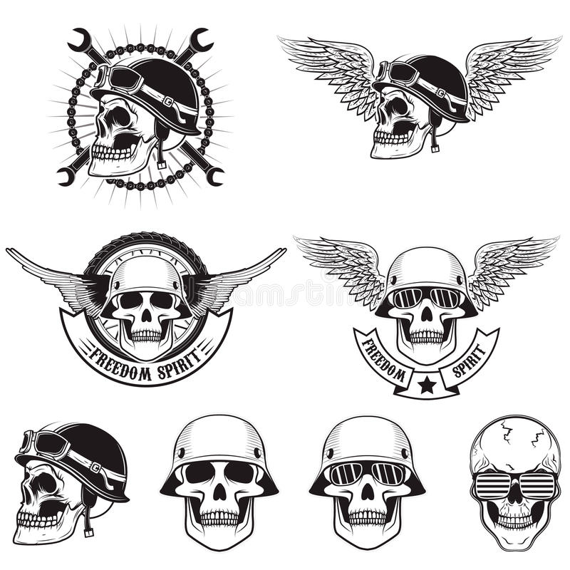 Freedom spirit. Set of skulls in biker helmets. stock illustration