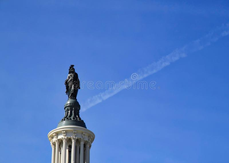 Freedom Statue atop the dome of the U. S. Capitol Building in Washington, D. C. royalty free stock photography