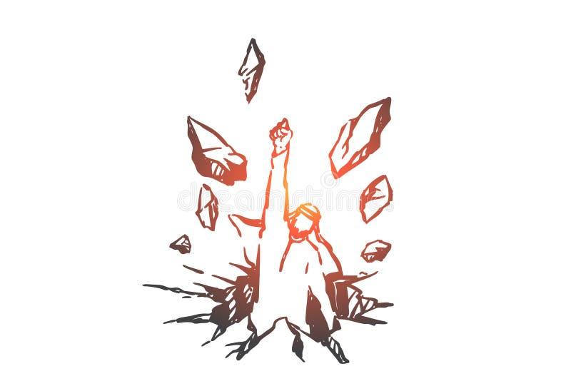 Freedom struggle, determination concept sketch. Hand drawn isolated vector. Freedom struggle, determination concept sketch. Overcoming obstacles, ambition vector illustration
