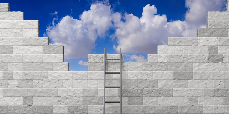 Metal ladder against a white brick wall, blue sky background. 3d illustration stock illustration