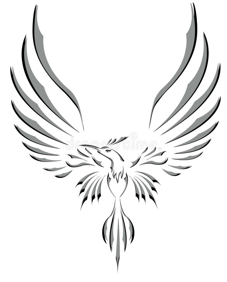 Freedom Symbol Tattoo Flying Bird With Big Wings Stock Illustration