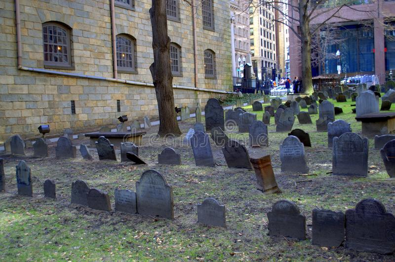 Burial Grounds for King`s Chapel Freedom Trail Revolutionary War Times. Freedom Trail Revolutionary War Site King`s Chapel Burial Ground. Many important people royalty free stock images