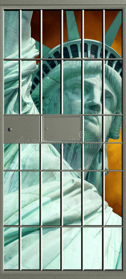 Freedom Versus Oppression. Abstract concept for freedom and liberty versus oppression and loss of personal rights. A jail prison cell door masks the Statue of stock photography