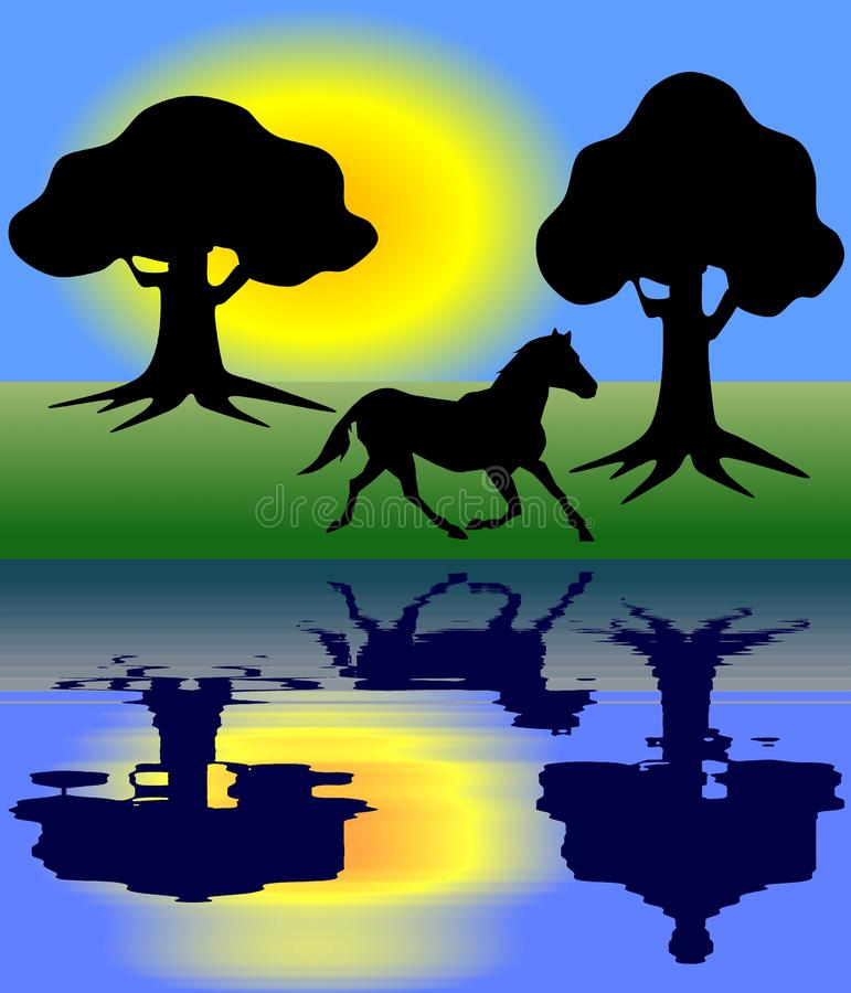 Freedom. View of some symbols, a galloping horse, some trees in a forest and shining yellow sun at a lake or a river on the background of blue cloudless sky that vector illustration