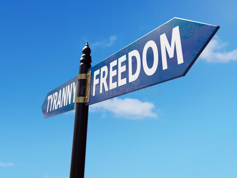 Freedom vs Tyranny signpost. Two-directional metal signpost indicating Freedom and Tyranny directions over blue sky vector illustration