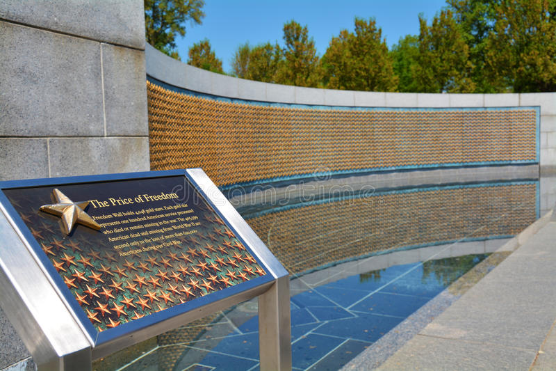Freedom Wall at the National WWII Memorial royalty free stock image