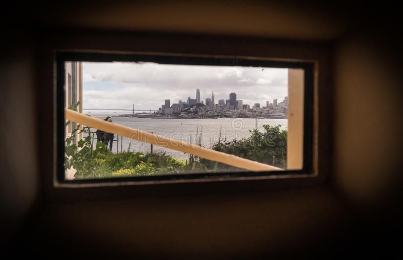 Freedom through the window. View from Alcatraz royalty free stock photos