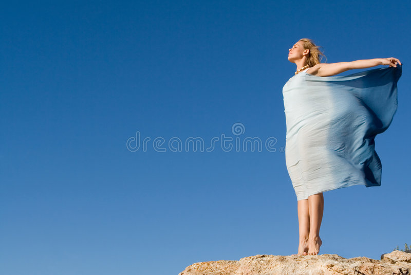 Freedom woman outdoors royalty free stock image