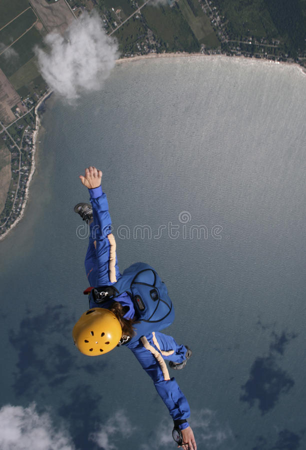 Freefalling over water stock image