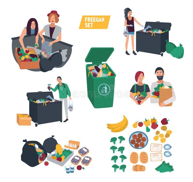 Freeganismuppsättning freegan mat för folksökande i dumpsteren, avfallfack, soptunna royaltyfri illustrationer