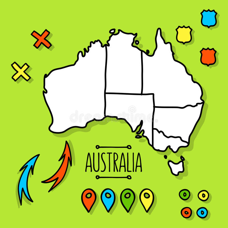 download freehand australia travel map on green background stock vector illustration of drawn background