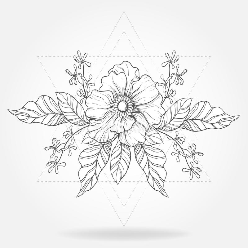 Freehand boho tattoo. Blackwork flower in hipster triangles frame. Vector illustration, tattoo sketch isolated on white for vector illustration