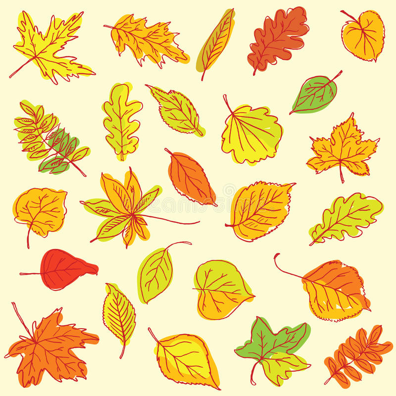 Freehand drawing autumn leaves items on a sheet of exercise book royalty free illustration
