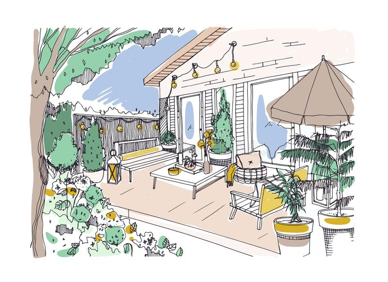Freehand drawing of backyard patio or terrace furnished in Scandinavian hygge style. House veranda with modern furniture. Stylish home outdoor interior design stock illustration