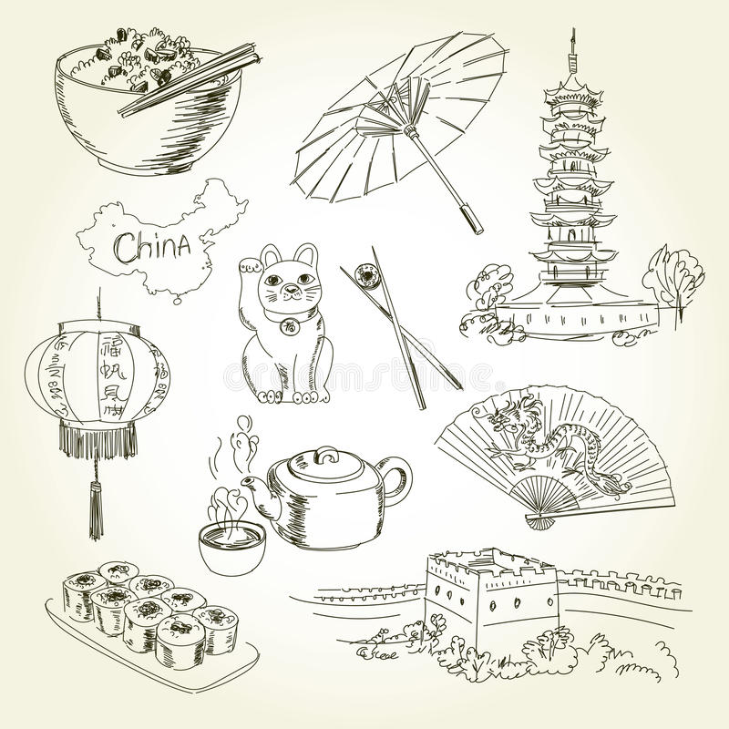 Freehand drawing China items vector illustration