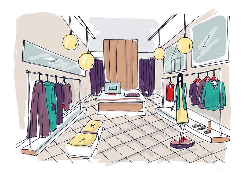 Freehand drawing of clothing boutique interior with hanging racks, furnishings, mannequin dressed in stylish clothes vector illustration