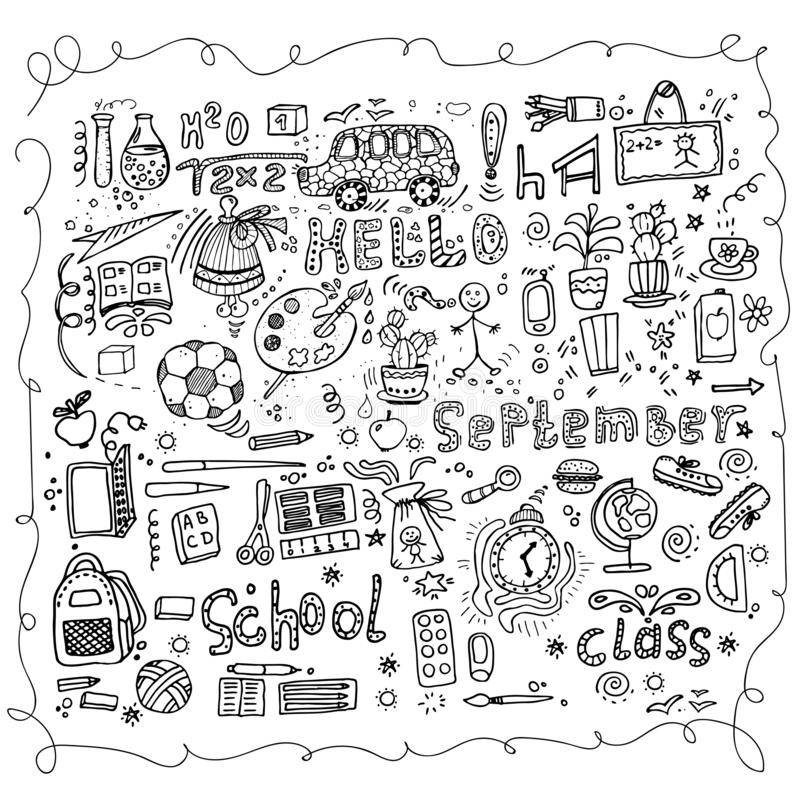 Freehand Drawing Of School Supplies In Notebook Stock