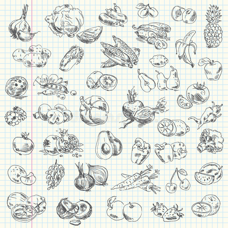 Free Freehand Drawing Fruit And Vegetables Stock Images - 36280834