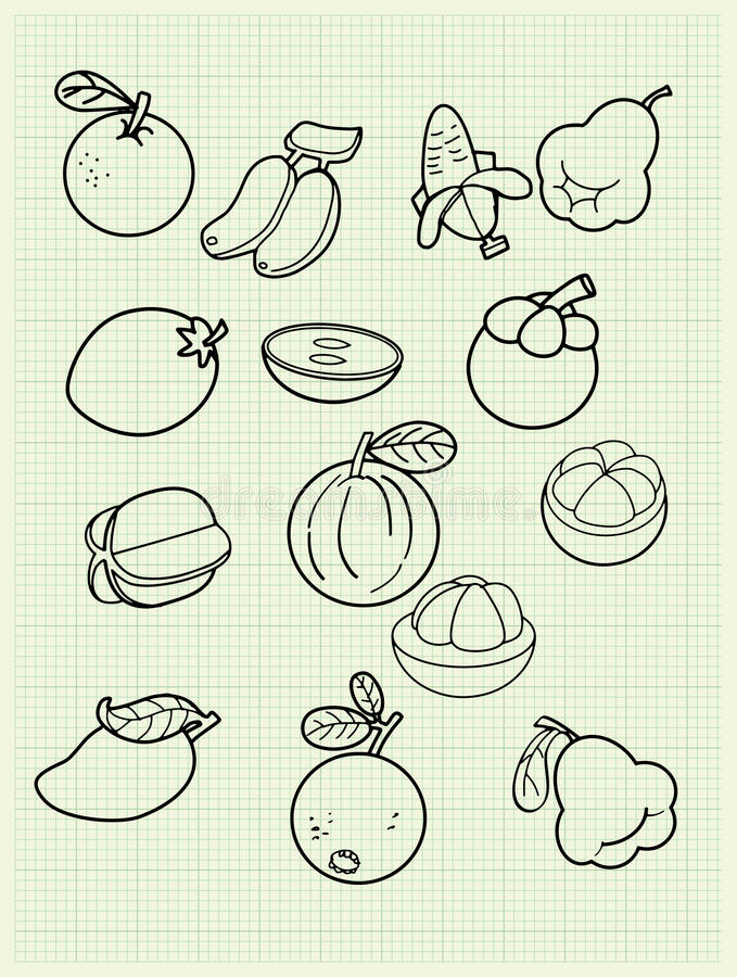 Download Freehand Drawing Fruit On Paper. Stock Vector - Image: 39759867