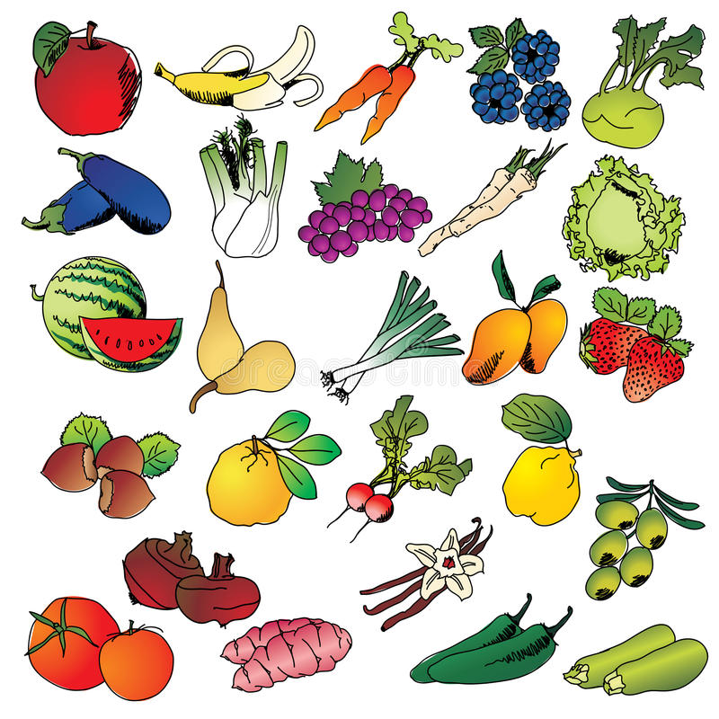Freehand drawing fruits and vegetables icon set royalty free illustration