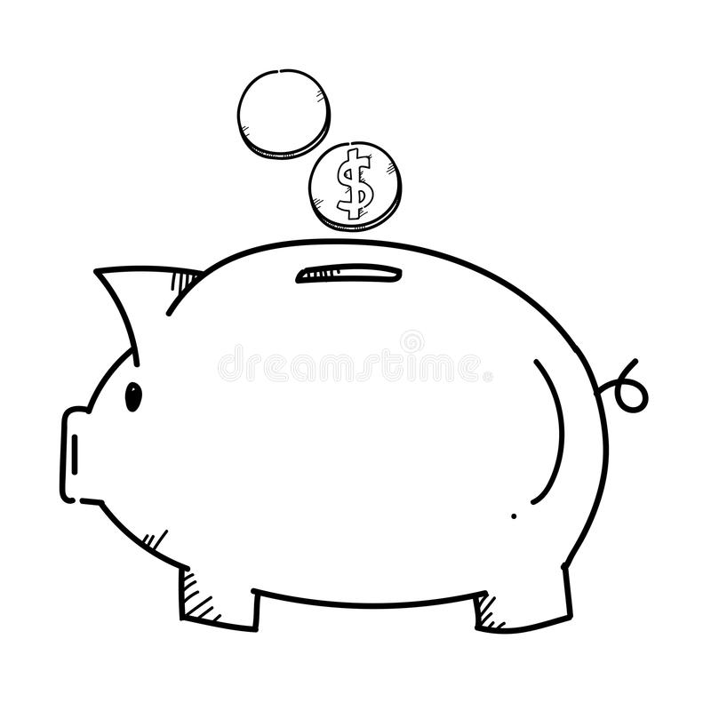 Freehand drawing illustration piggy bank. vector illustration