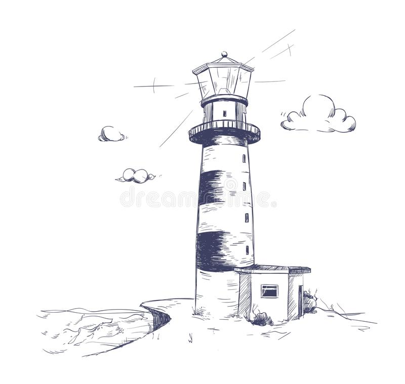 Free Freehand Drawing Of Beautiful Seaside Landscape With Lighthouse Standing On Rock Cliff Or Seashore With Sea And Cloudy Royalty Free Stock Photography - 110364677