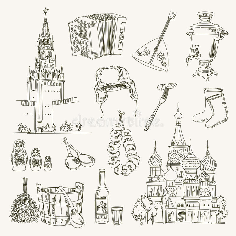 Freehand drawing Russia items stock illustration