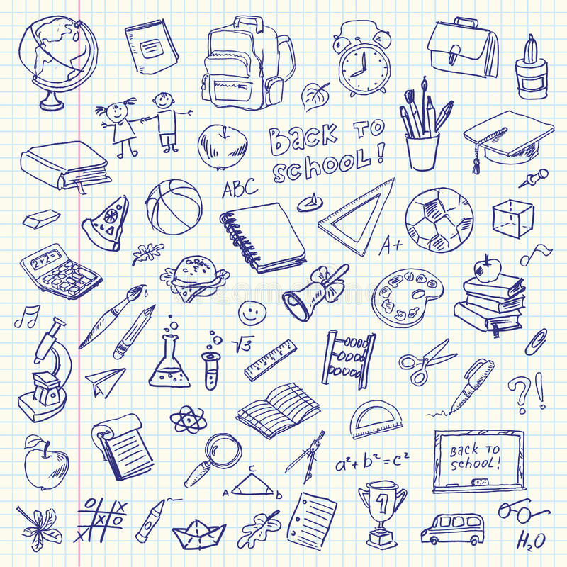 Freehand drawing school items. Back to School vector illustration