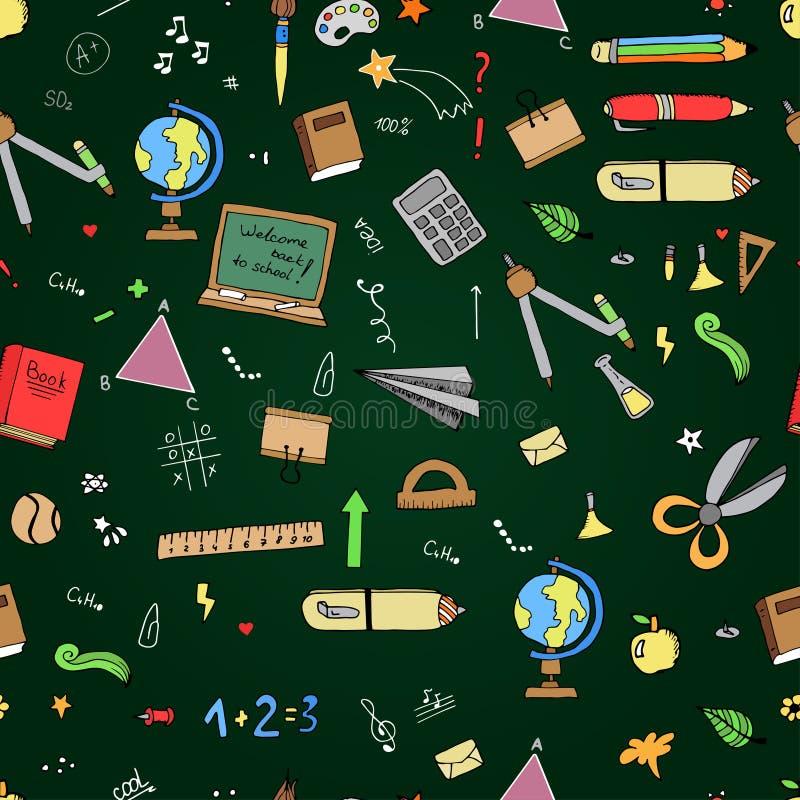 Freehand drawing school items on the blackboard. Back to School. Vector illustration. Set stock illustration
