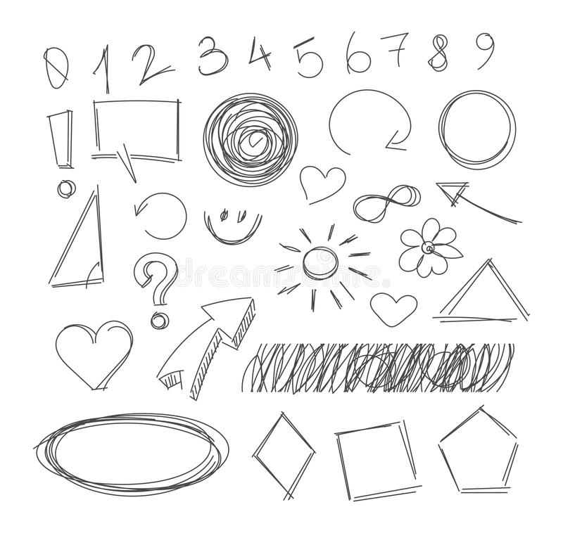 Freehand drawing scribble items royalty free illustration