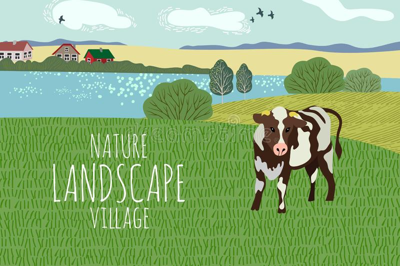 Freehand drawing of a summer day in the village. Cute vector illustration of a rural landscape with cow, trees, lake and grass vector illustration