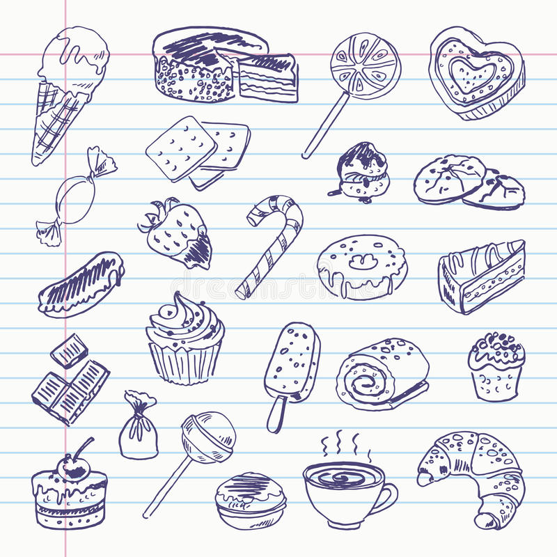 Free Freehand Drawing Sweetness Items Royalty Free Stock Images - 48374789