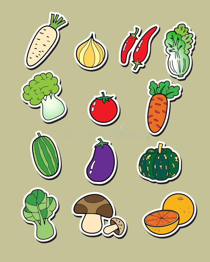 Freehand drawing vegetables. stock illustration