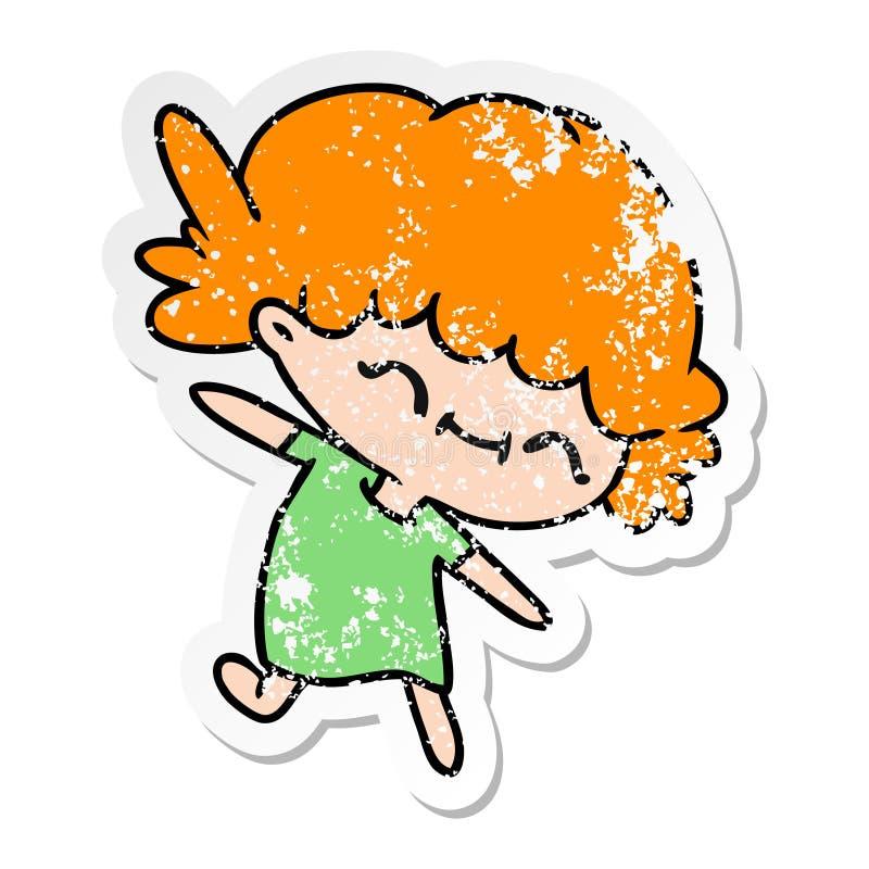 Distressed Grunge Worn Old Sticker Decal Cartoon Kawaii Cute Girl