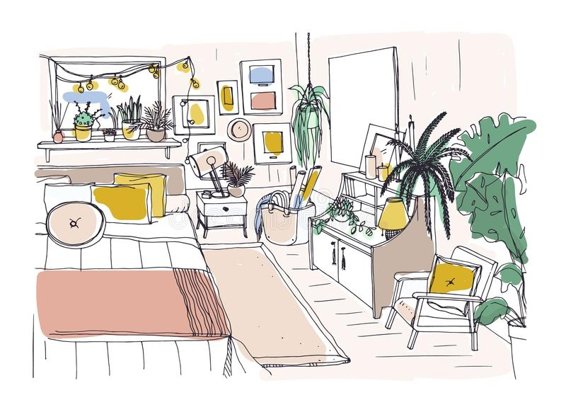 Freehand nakreślenie meblujący w skandynawa stylu wygodna sypialnia Izbowy pełny meble i dom elegancki i wygodny royalty ilustracja
