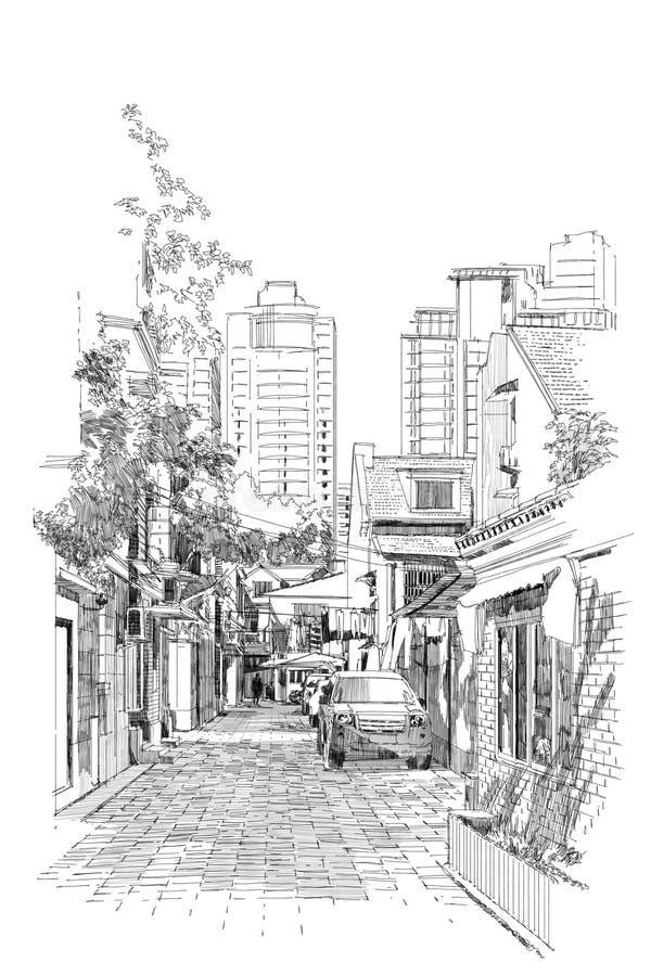 Freehand nakreślenie stara ulica ilustracja wektor