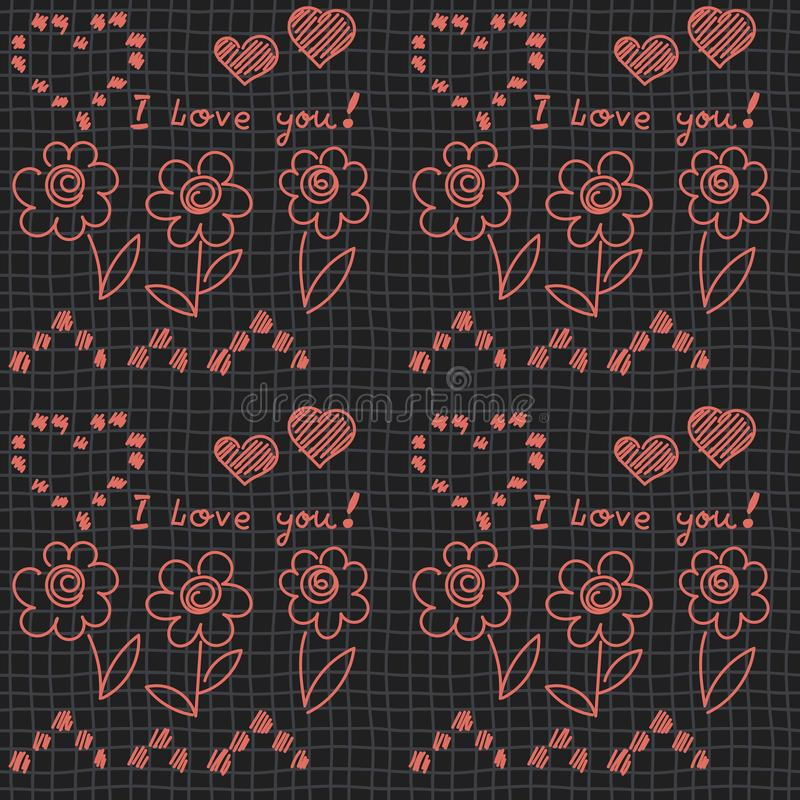 Freehand pattern on Checkered seamless background. Hearts, flowers, writing, I love you. Valentine`s day, Birthday vector illustration