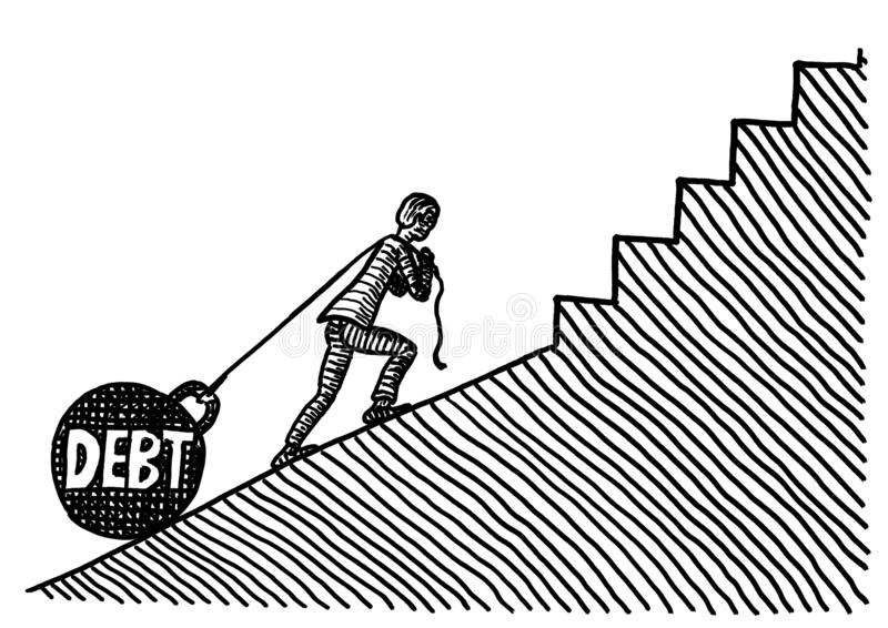 Drawn Business Man Pulling DEBT Kettlebell Uphill. Freehand pen drawing of a business man pulling DEBT in form of a huge kettle bell uphill a slope which turns vector illustration