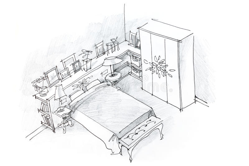 Freehand pencil drawing of bedroom interior, black and white vector illustration