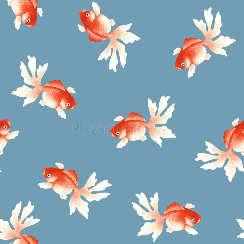 Freehand rysunek, Japońskiego stylu ryba wzór royalty ilustracja