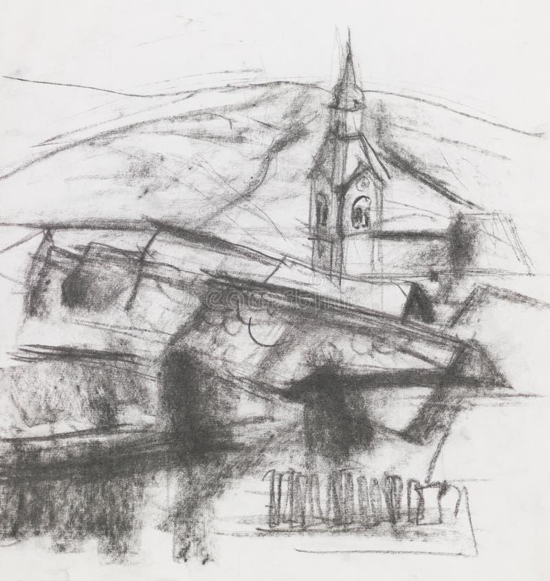 Freehand rysunek wioska ilustracja wektor