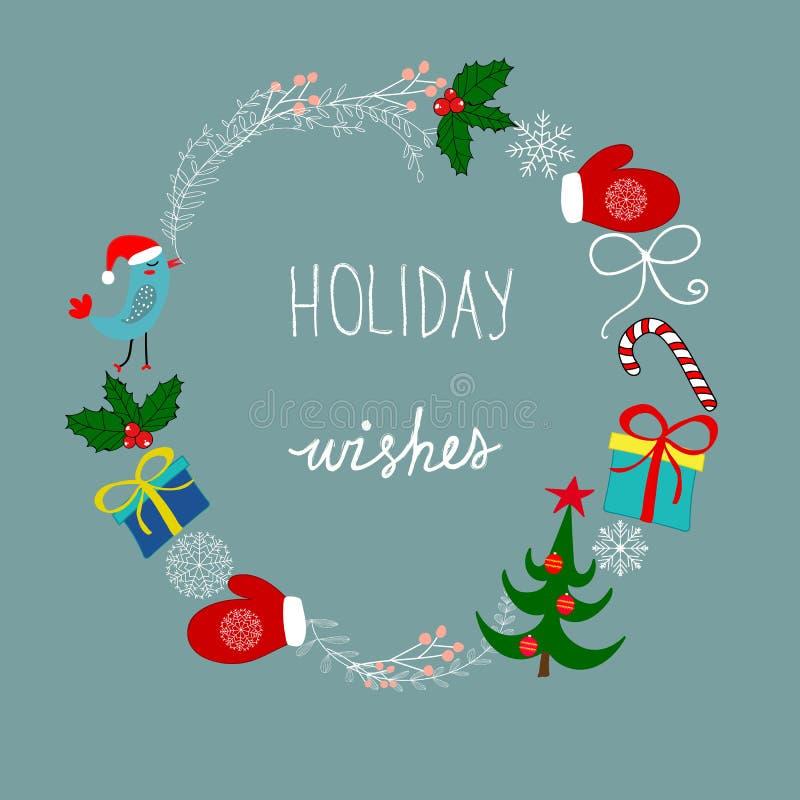 Freehand semestrar den drog för julkransen för klottret knapphändiga ramen att märka för önska Godis Cane Mittens Snowflakes för  royaltyfri illustrationer