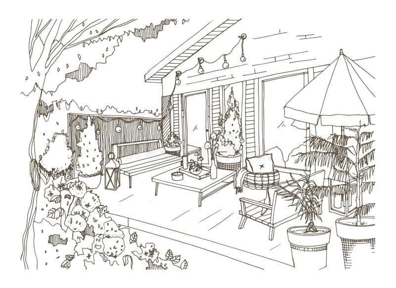 Freehand sketch of backyard patio or terrace furnished in Scandic hygge style. House veranda with trendy modern. Furniture hand drawn with contour lines on stock illustration