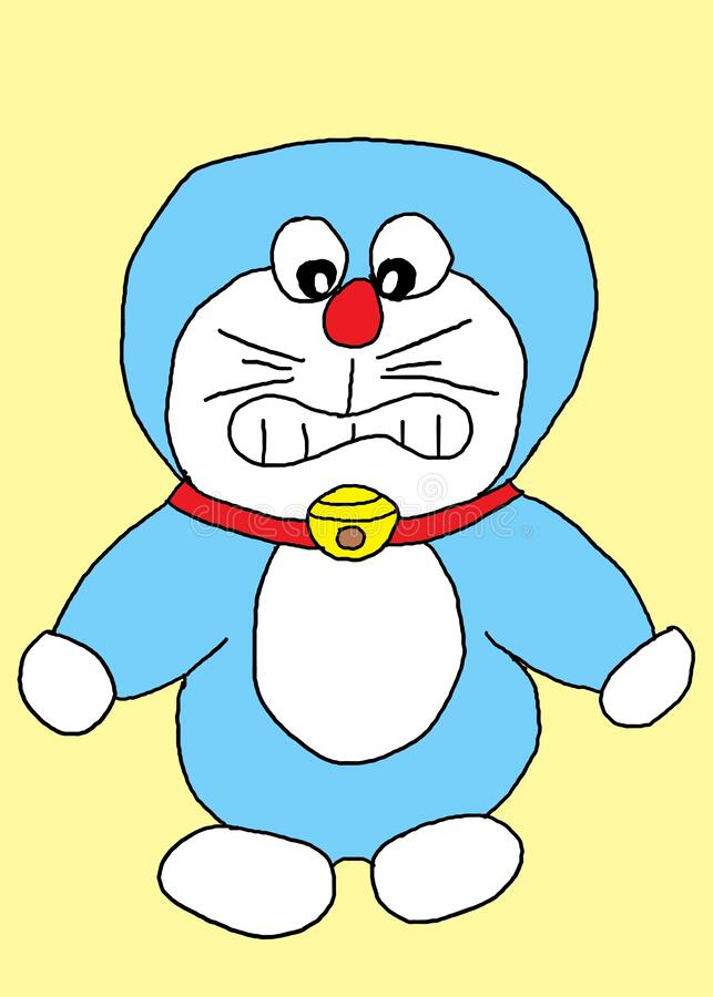 Freehand sketch with computer pen tablet of the Japanese animation character Doraemon royalty free stock photo