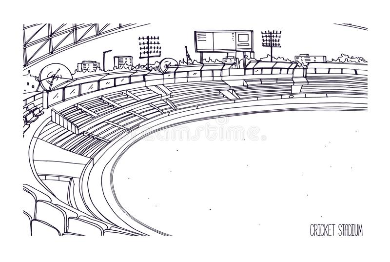 Freehand sketch of cricket stadium with rows of seats, electronic scoreboard and grassy field or lawn. Sports arena for. British team bat-and-ball game vector illustration