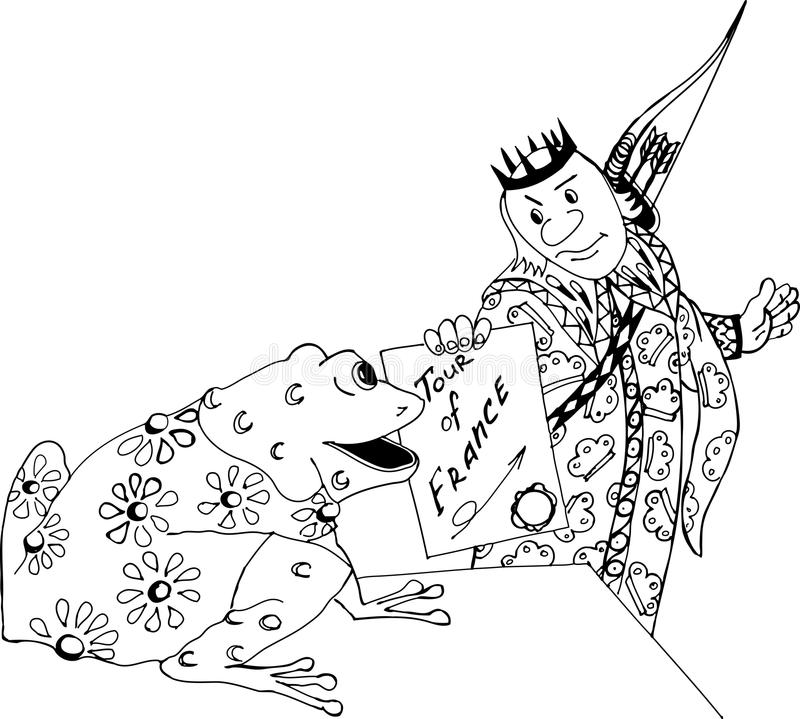 The Prince and the frog. Freehand sketch drawing for adult antistress coloring book vector illustration