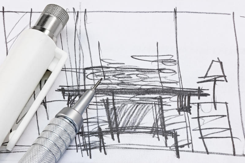 Freehand sketch of interior design with drawing tools for Interior design drawing tools