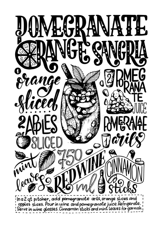 Freehand sketch style drawing of pomegranate orange sangria, cocktail glass, various fruits and hand written lettering stock illustration