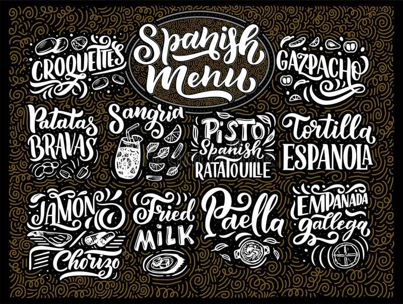 Freehand sketch style drawing of spanish menu with different food names, various elements and hand written lettering stock illustration
