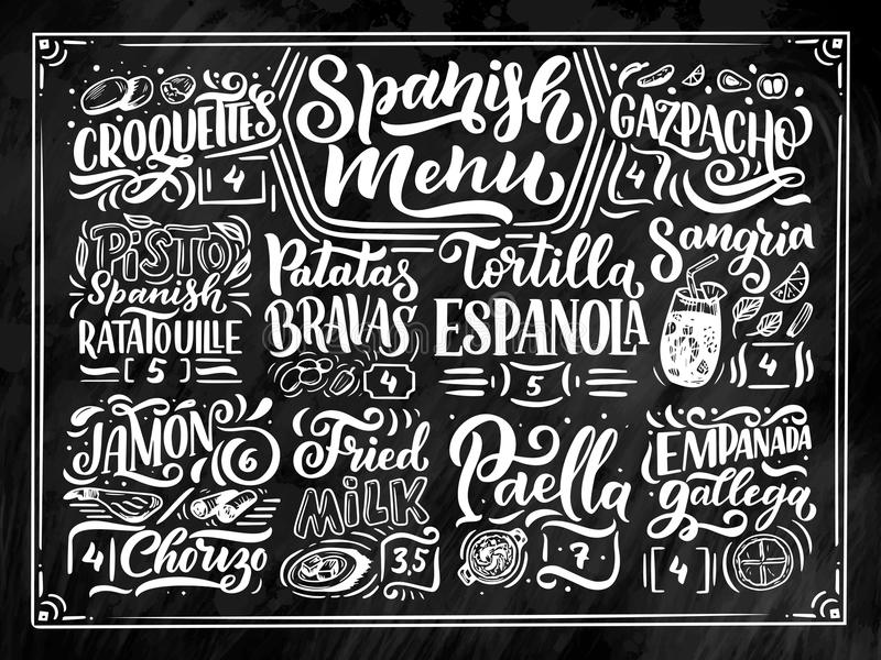 Freehand sketch style drawing of spanish menu with different food names, various elements and hand written lettering royalty free illustration